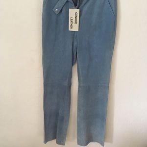 Suede pants in long